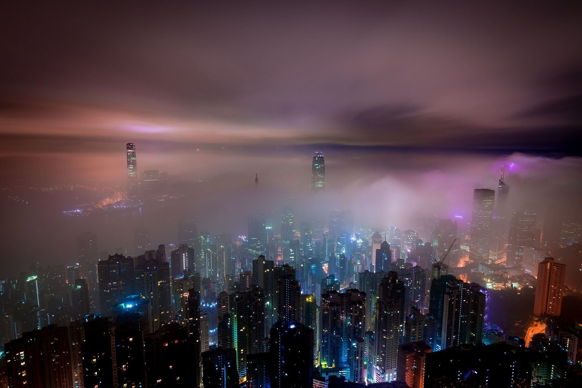 mist over cityscape